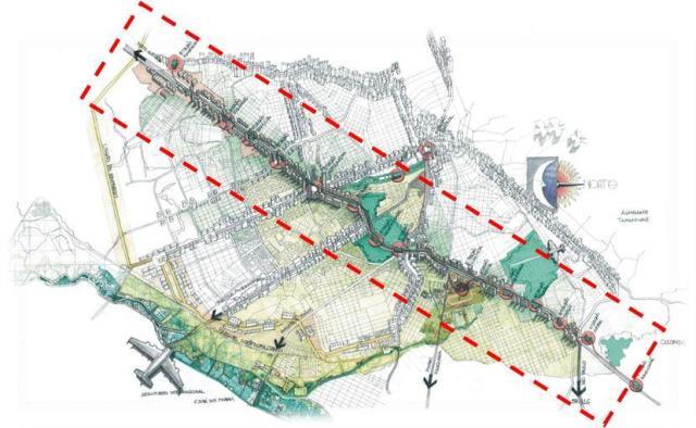 "Gambar  2:  Desain 3D Struktur ""Linier"" Tata Ruang Kota Curritiba"
