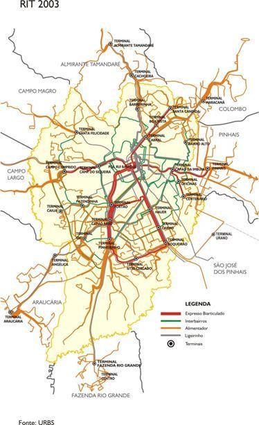 Gambar 9:  Lima Koridor Linier Kota Curritiba dan Integrasi jaringan Trasnportasi Kota Curritiba Tahun 2003